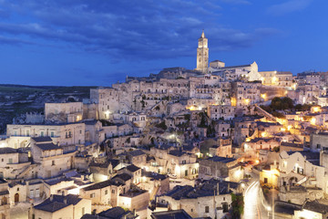 Sasso Barisano and cathedral, UNESCO World Heritage Site, Matera, Basilicata, Puglia, Italy, Europe