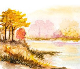 autumn trees and lake watercolor illustration