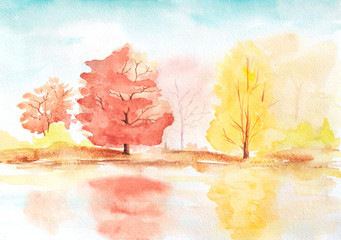 autumn trees with reflection in a lake. abstract sunny watercolor illustration