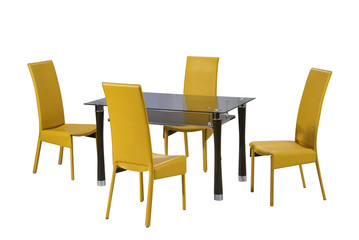 Dining table and yellow chairs isolated with clipping path.
