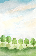 abstract background with trees, grass and sky, watercolor illustration