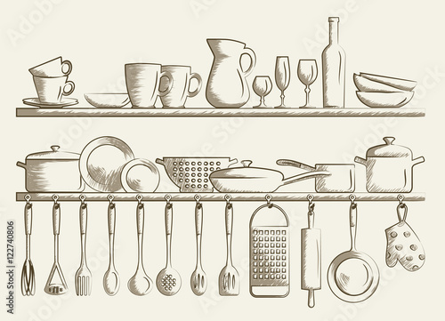 Retro kitchen shelves and cooking utensils hand drawn for Utensilios de cocina vintage