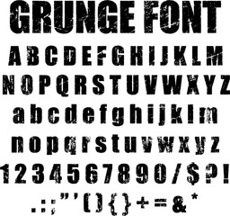 Grunge Alphabet and Numeral Font Set Vector