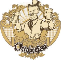 Merry doodle with beer mug. Beer template design. Vector illustration