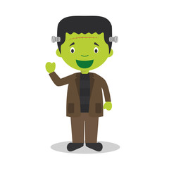 Cartoon illustration of a funny frankenstein monster for children