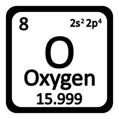 Periodic table element oxygen icon.