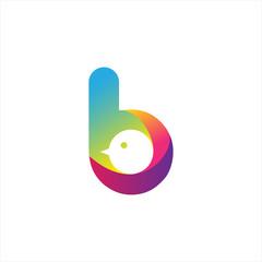 Bird B Letter Colorful Shadow Pixel Logo