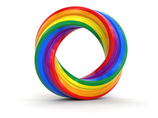 Color twisted ring. Image with clipping path