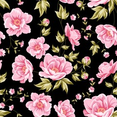 Floral tile pattern for vintage design. Seamless floral pattern with peonies. Vector illustration.