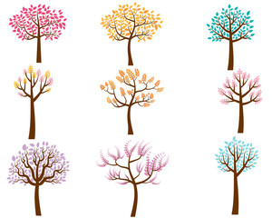 Vector Set of Colorful Cartoon Trees