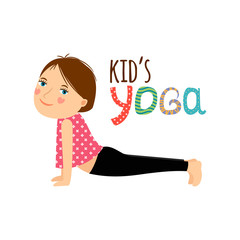 Yoga kids isolated logo design with girl. Vector illustration