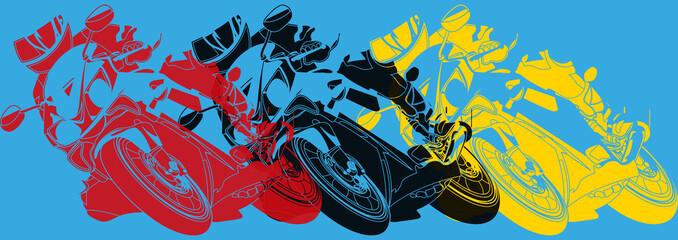 Pop art,  moto prenant une courbe