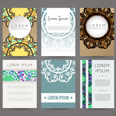 Set of vector design templates. Business card with monogram circle ornament. Mandala style.
