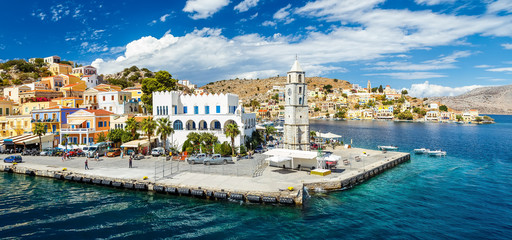 Panorama of beautiful summers day on the Greek island  Symi in the Dodecanese Greece Europe