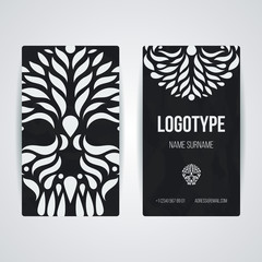 Set of vector design templates. Business card with circle ornament.