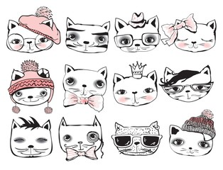 Set of stylish cats. Vector trendy hipster style for greeting card design, print, inspiration poster.