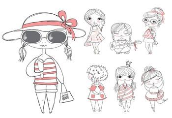 Set of cute fashion summer or spring girls