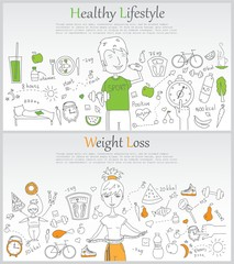 Doodle line design of web banner templates with outline icons of Healthy lifestyle and Weight loss.