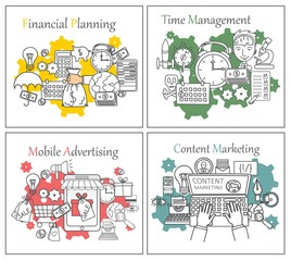 Doodle line design of web banner templates with outline icons of time management, mobile advertising, finance planning, content marketing.Vector illustration concept for website or infographics.