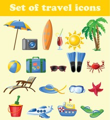 Set of cartoon cute travel icons.