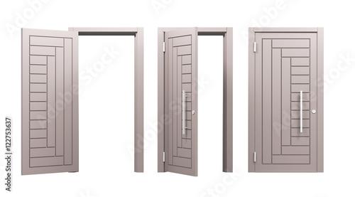 Tre porte blindare aperte e chiuse o scelta render 3d - Finestre condominiali aperte o chiuse ...