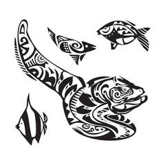 Moray tattoo in Maori style. Vector illustration EPS10
