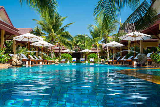 beautiful swimming pool in tropical resort , Phuket, Thailand