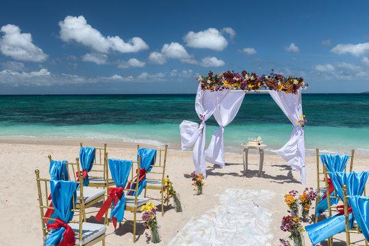 decorated wedding arch on Puka beach at Boracay island Philippin
