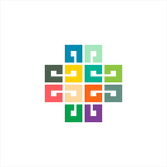 abstract square color logo