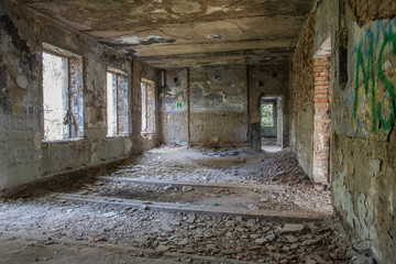 inside an old ruined house