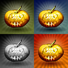 Pumpkins and background, vector set