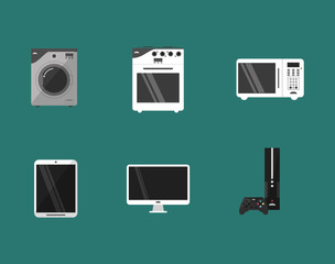 washing machine oven stove  microwave cellphone tv game console home electronic appliances image vector illustration