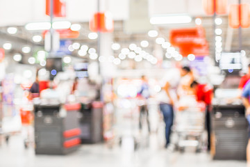 Blurred background, customer pay money at Cashier in supermarket