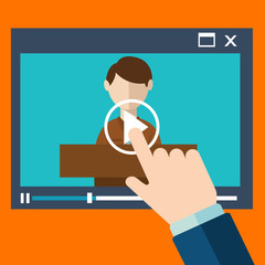 Vector webinar concept in flat style video player online education