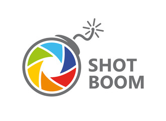 Vector logo design combination of a camera shutter and bomb. Camera shutter and bomb symbol or icon