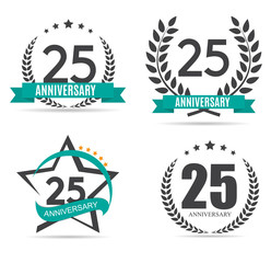 Template Logo 25 Years Anniversary Vector Illustration