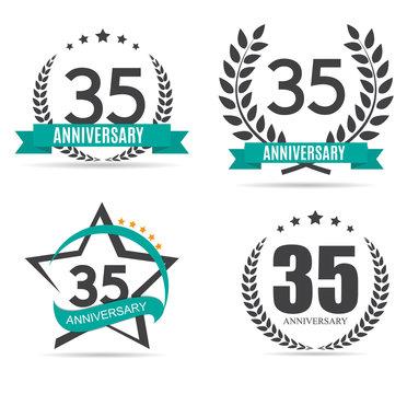 Template Logo 35 Years Anniversary Vector Illustration