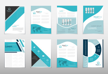 Leaflet cover presentation abstract geometric background, layout in A4 size Blue fold set technology annual report brochure flyer design template vector