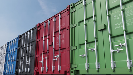 Row of multicolored cargo containers against blue sky. 3D rendering