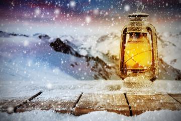 winter lamp on desk of snow