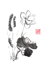 Lotus flower Japanese style original sumi-e ink painting.