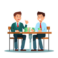 Two young businessman in a suit sitting at the table and count money profit growth. Vector illustration of businessman smiling happy to profit growth on white background