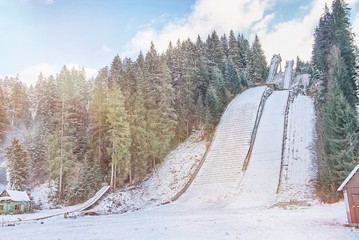 Jump ski ramp in Vorokhta, Ukraine