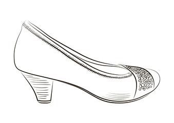 Sketch of women shoe. Vector-Illustration