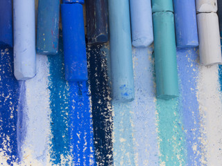 blue artistic crayons
