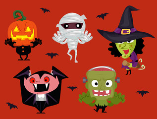 Vector Illustration of Set of Different Halloween Characters