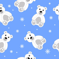 Polar bear and snowflakes seamless pattern