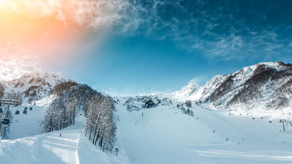 Fototapete - Mountain landscape panorama, ski slope