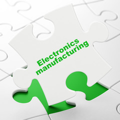 Manufacuring concept: Electronics Manufacturing on puzzle background
