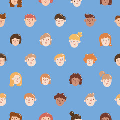Boys and girls colorful faces seamless pattern